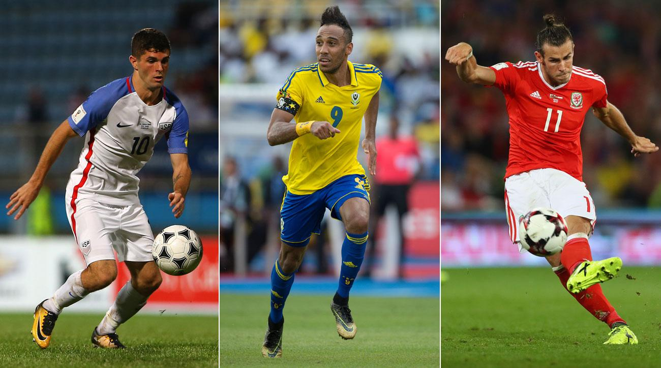 Christian Pulisic, Pierre-Emerick Aubameyang and Gareth Bale will be missing the World Cup.