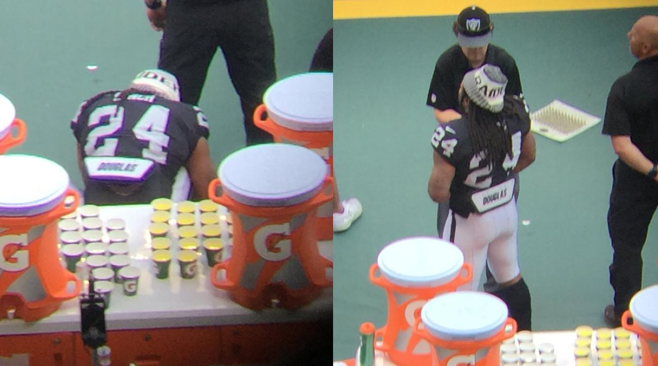Marshawn Lynch sits during U.S. national anthem, stands for Mexican anthem