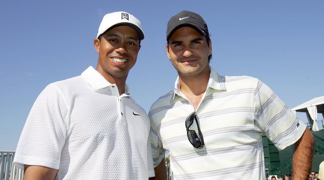 Tiger Woods and Roger Federerthe 2017 CA World Golf Championships.