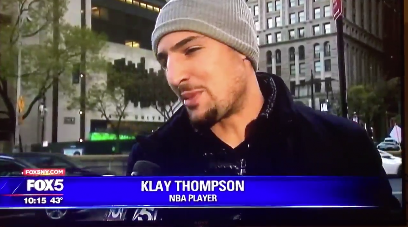 Klay Thompson Randomly Interviewed on Local NYC News About Scaffolding