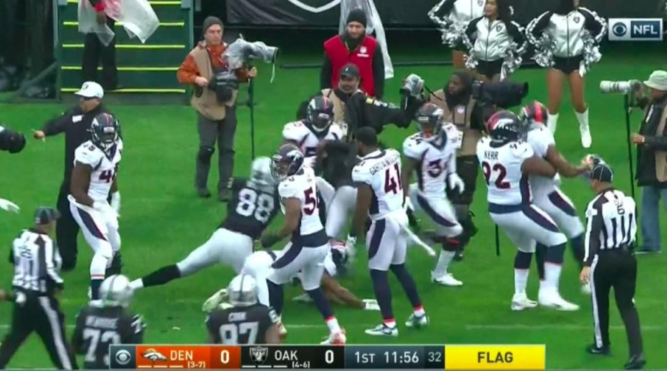 Crabtree, Talib ejected after fight breaks out between Raiders, Broncos