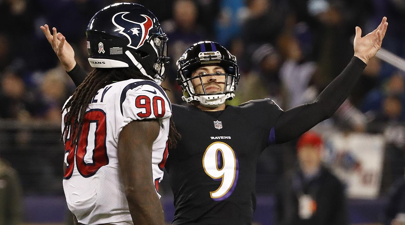 Ravens kicker Justin Tucker celebrates field goal
