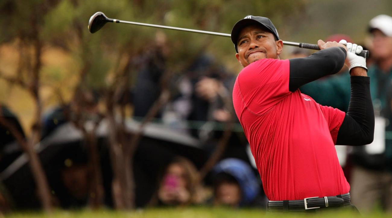Tiger Woods tees off at the 2010 Chevron World Challenge at Sherwood Country Club.
