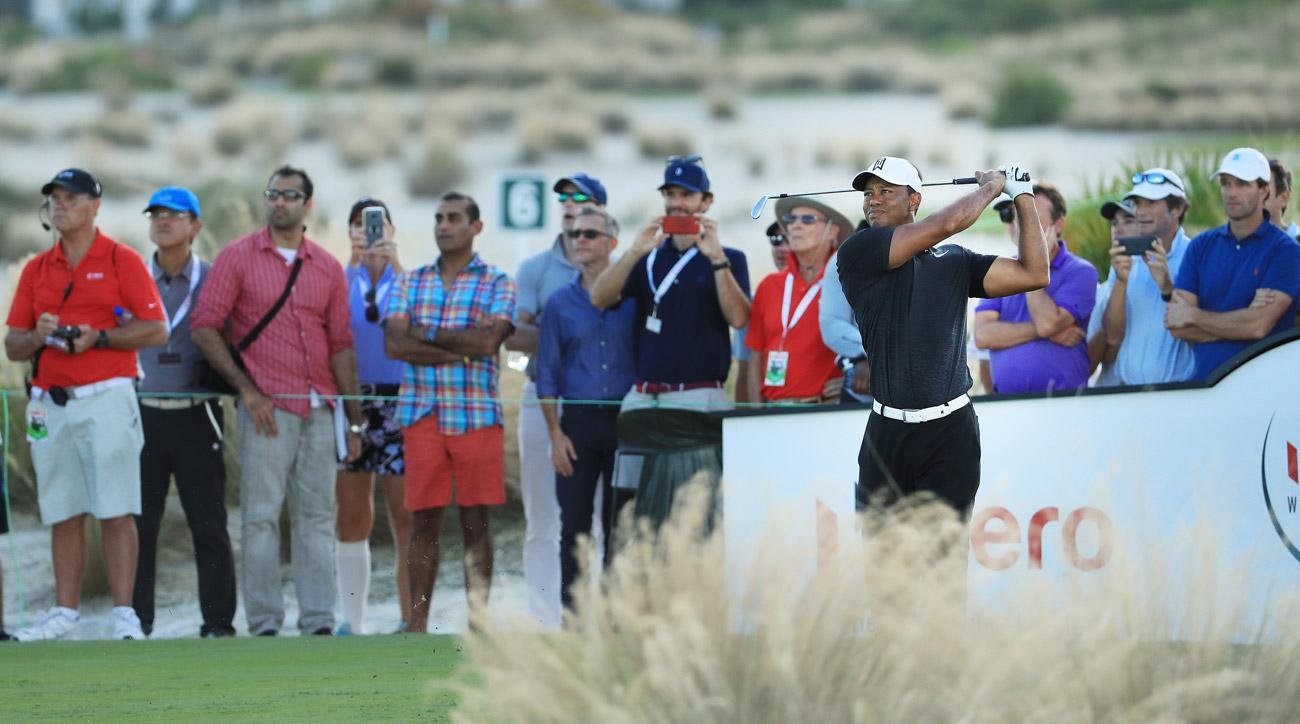Tiger Woods plays his shot from the 14th tee during the first round of the Hero World Challenge.