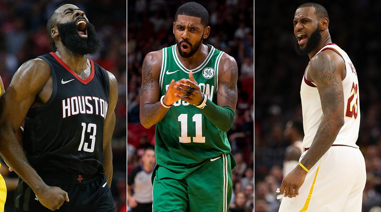 James Harden, Kyrie Irving and LeBron James
