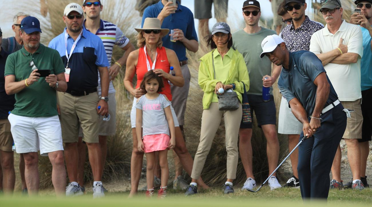 Some younger fans got their first glimpse of Woods this week.