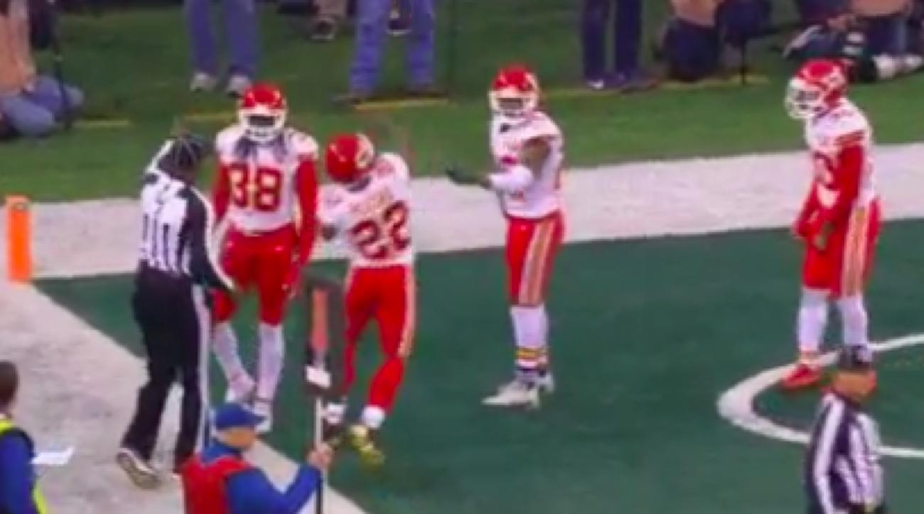 Chiefs cornerback Marcus Peters throws flag into stands
