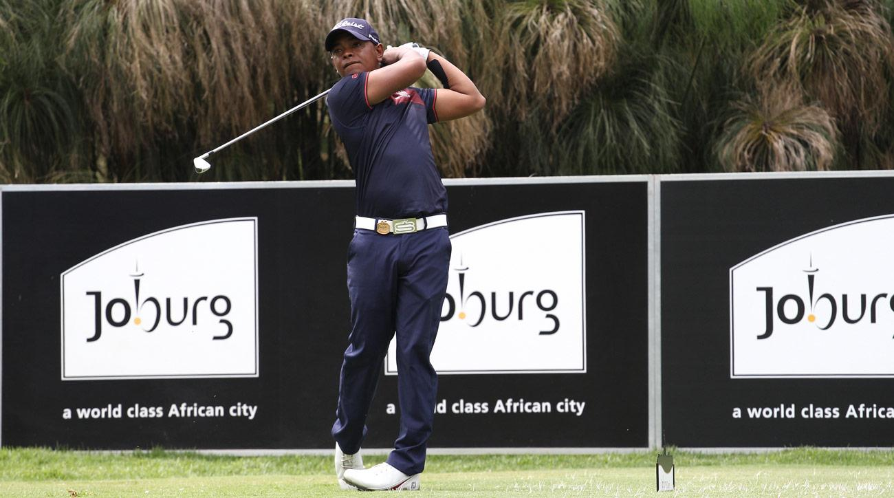 Keenan Davidse of South Africa plays a shot on the 16th hole during the first day of the Joburg Open.