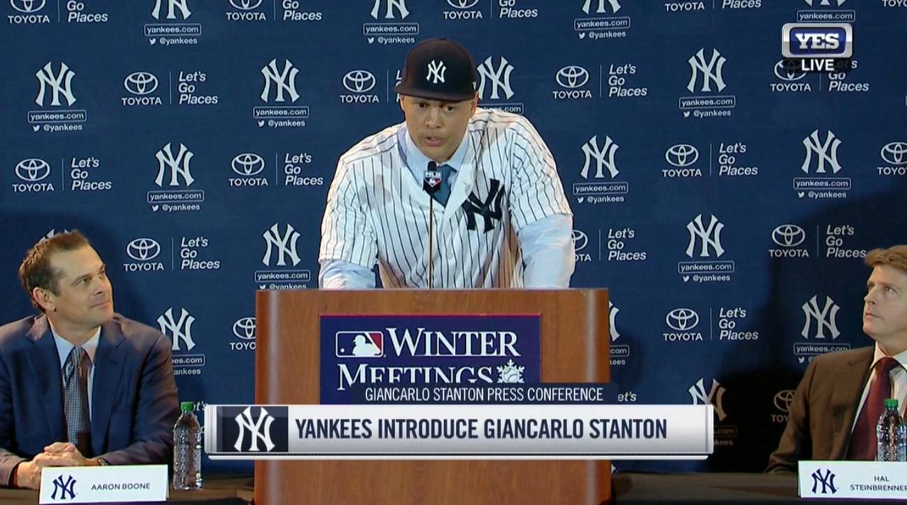 giancarlo stanton yankees introduction press conference