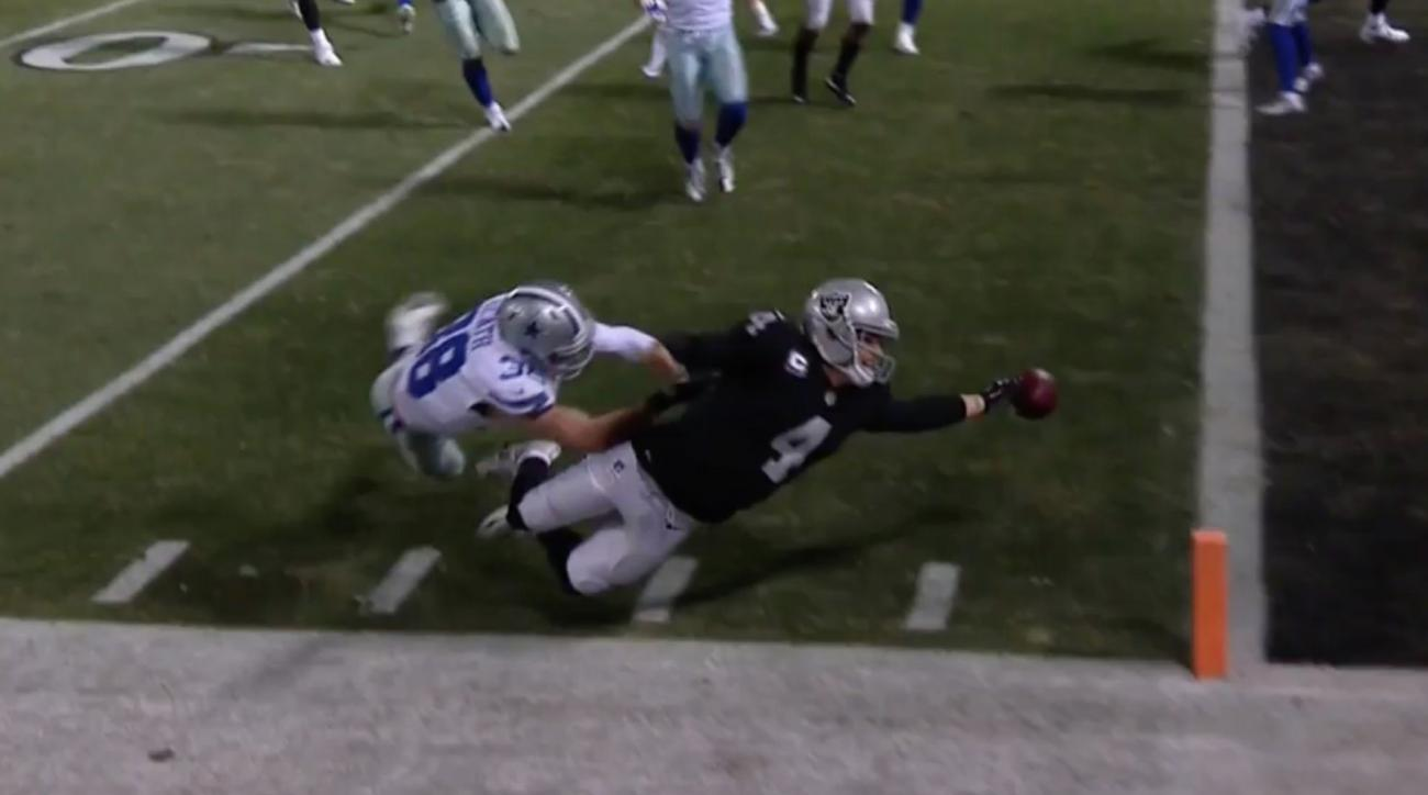 Derek Carr Fumbles Through Endzone To Seal Raiders Loss Video Si