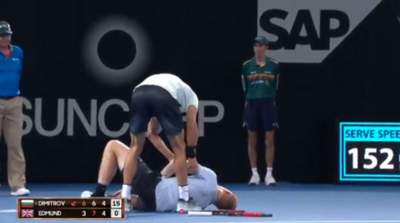 Grigor Dimitrov Leaps Over Net to Help Injured Opponent Kyle Edmund