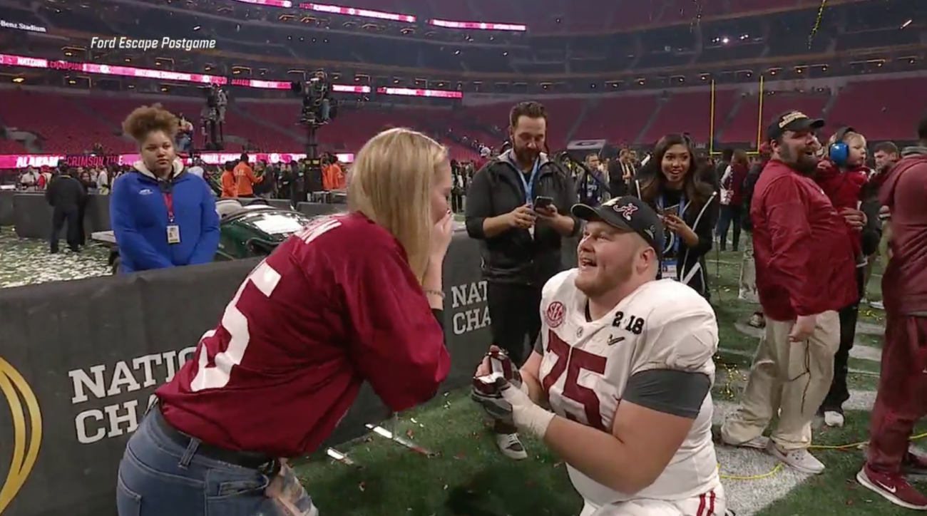 Alabama Center Bradley Bozeman Proposes After Crimson Tide Win National Championship