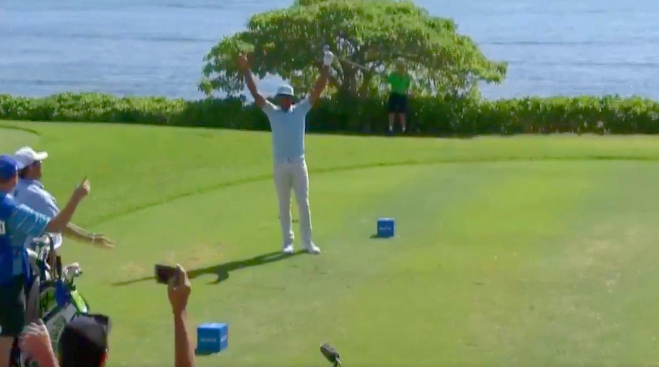 Tony Finau celebrates his ace on the 17th hole in the third round of the 2018 Sony Open.