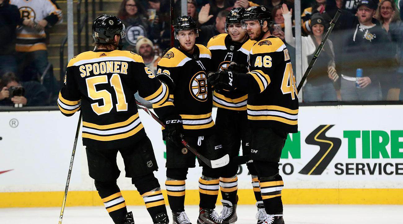 Boston Bruins center Ryan Spooner (51) celebrates his goal with his teammates during a game between the Boston Bruins and the Dallas Stars on January 15, 2018, at TD Garden in Boston, Massachusetts. The Stars defeated the Bruins 3-2 (OT). (Photo by Fred Kfoury III/Icon Sportswire)
