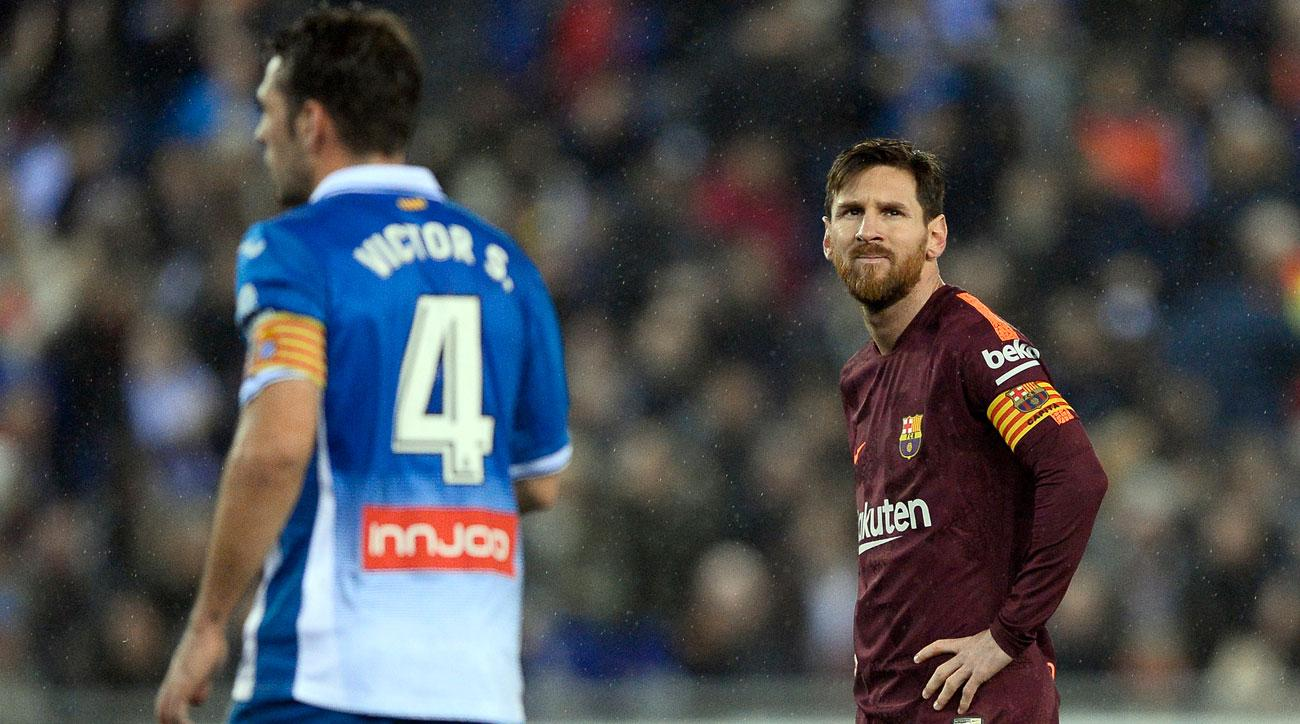 Lionel Messi and Barcelona fell to Espanyol in the first leg of their Copa del Rey quarterfinals