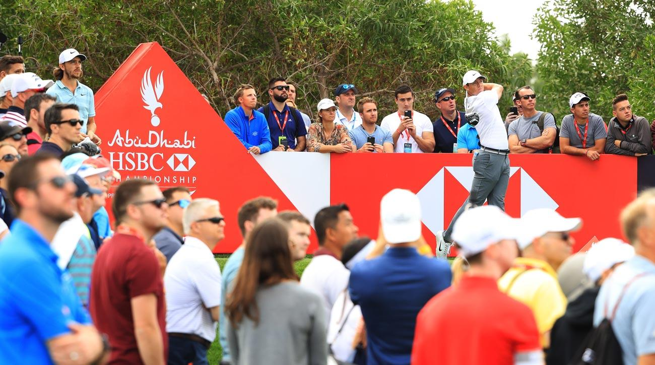 Rory McIlroy plays his shot from the 8th tee during round one of the 2018 Abu Dhabi HSBC Golf Championship.