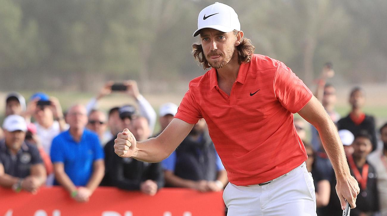 Tommy Fleetwood celebrates after making birdie on the 18th hole to finish 22 under during the final round of the Abu Dhabi HSBC Championship on Sunday.