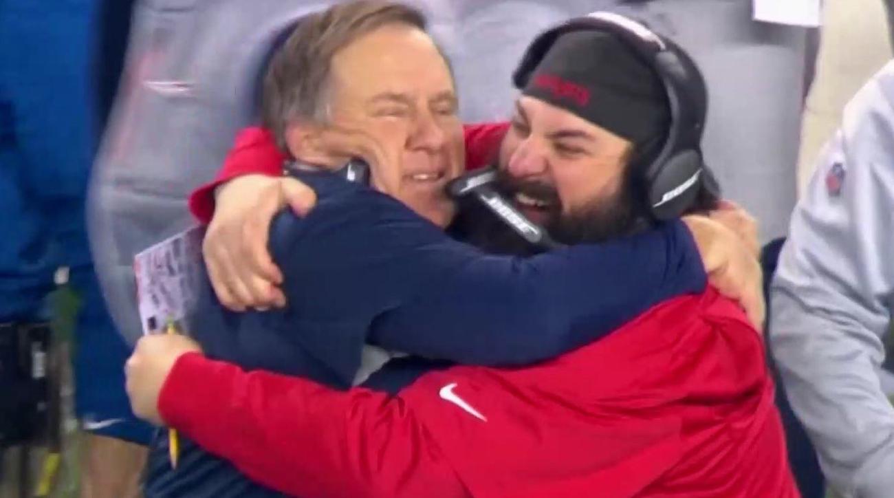 bill belichick matt patricia hug patriots super bowl