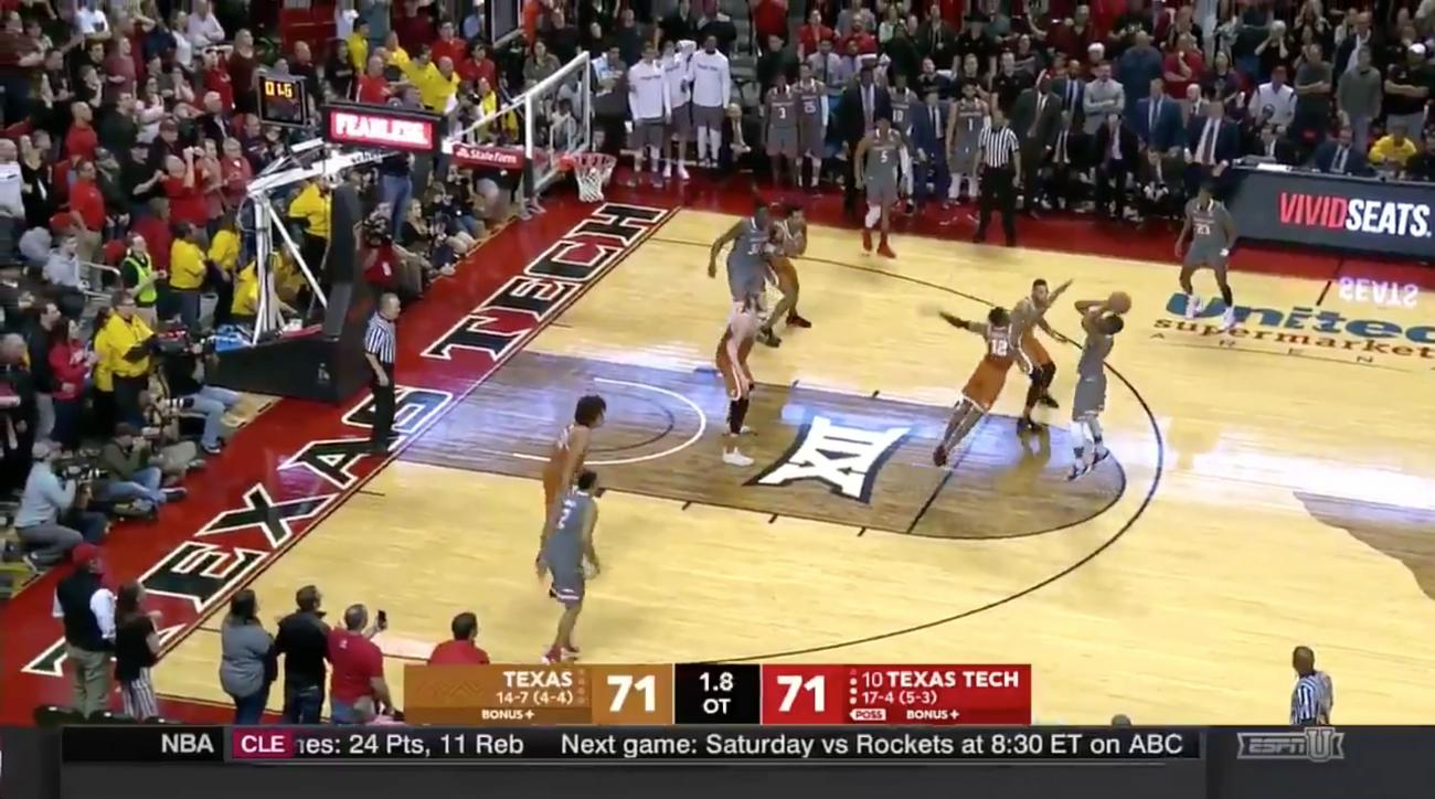 Evans scores at buzzer, No. 10 Texas Tech beats Texas in OT