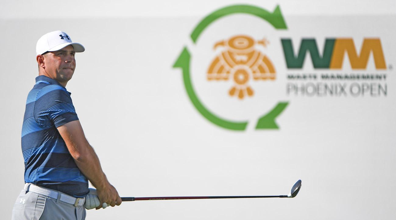 Gary Woodland plays from the 17th tee during the final round of the Waste Management Phoenix Open.