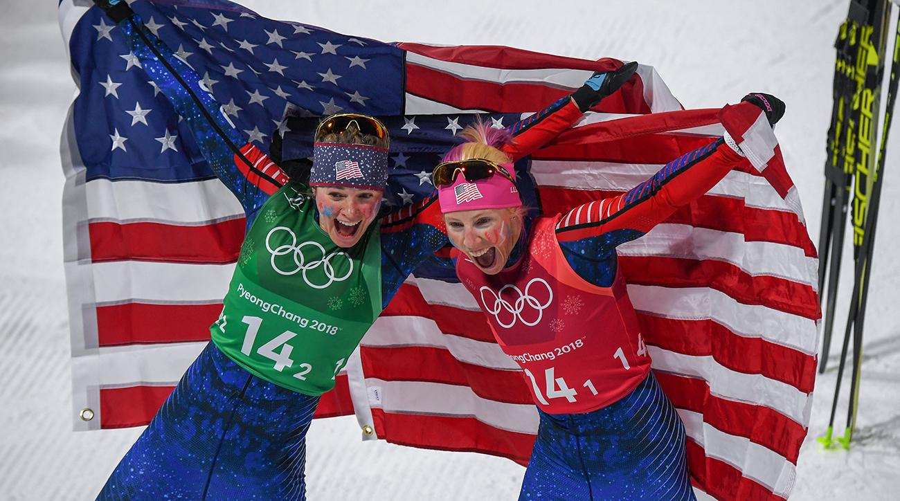 U.S. women win historic Olympic gold in cross-country skiing