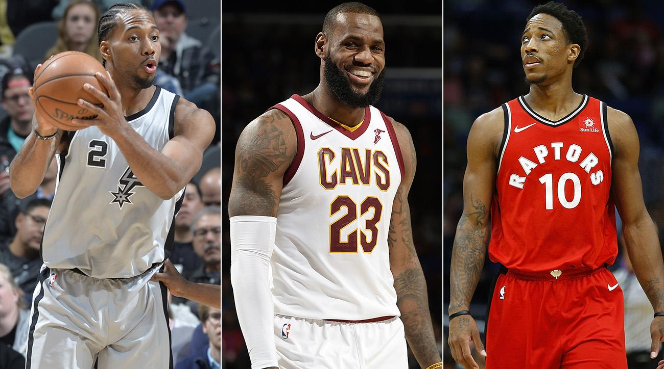 Kawhi Leonard, LeBron James and DeMar DeRozan