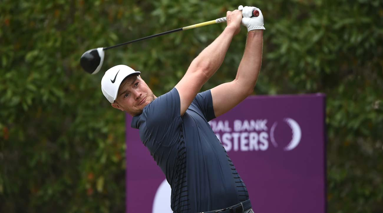 Oliver Fisher tees off on the 6th hole during the third round of the Commercial Bank Qatar Masters.
