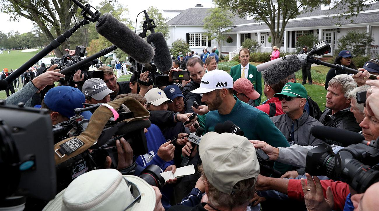 The press surrounding Dustin Johnson at the 2017 Masters.