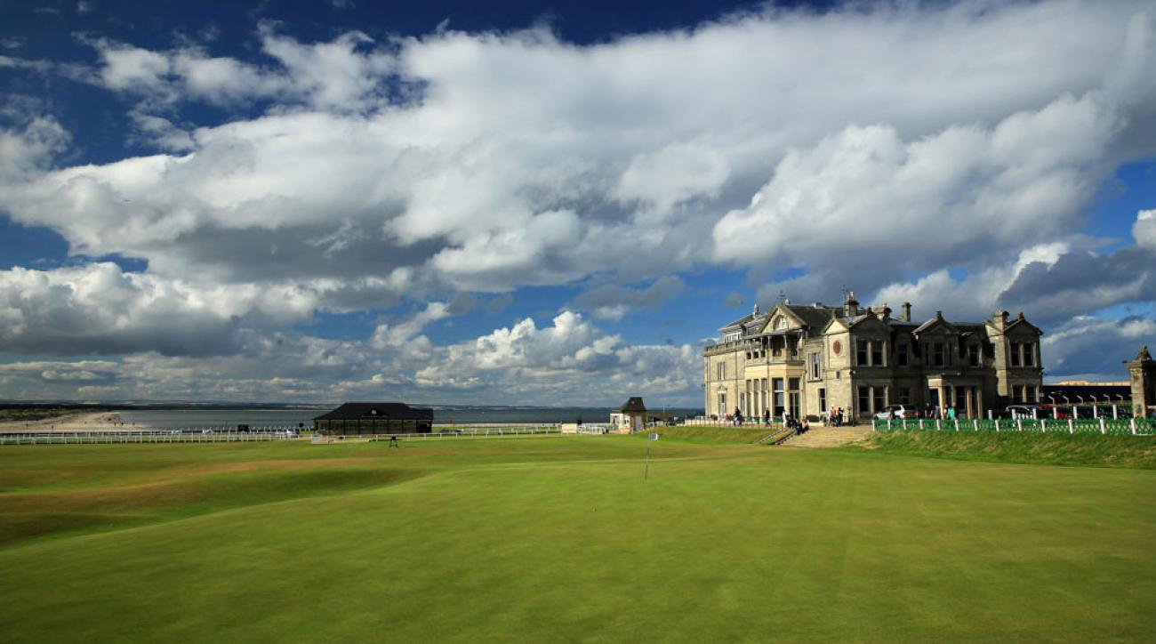 A view of the finishing hole at the Old Course at St. Andrews.