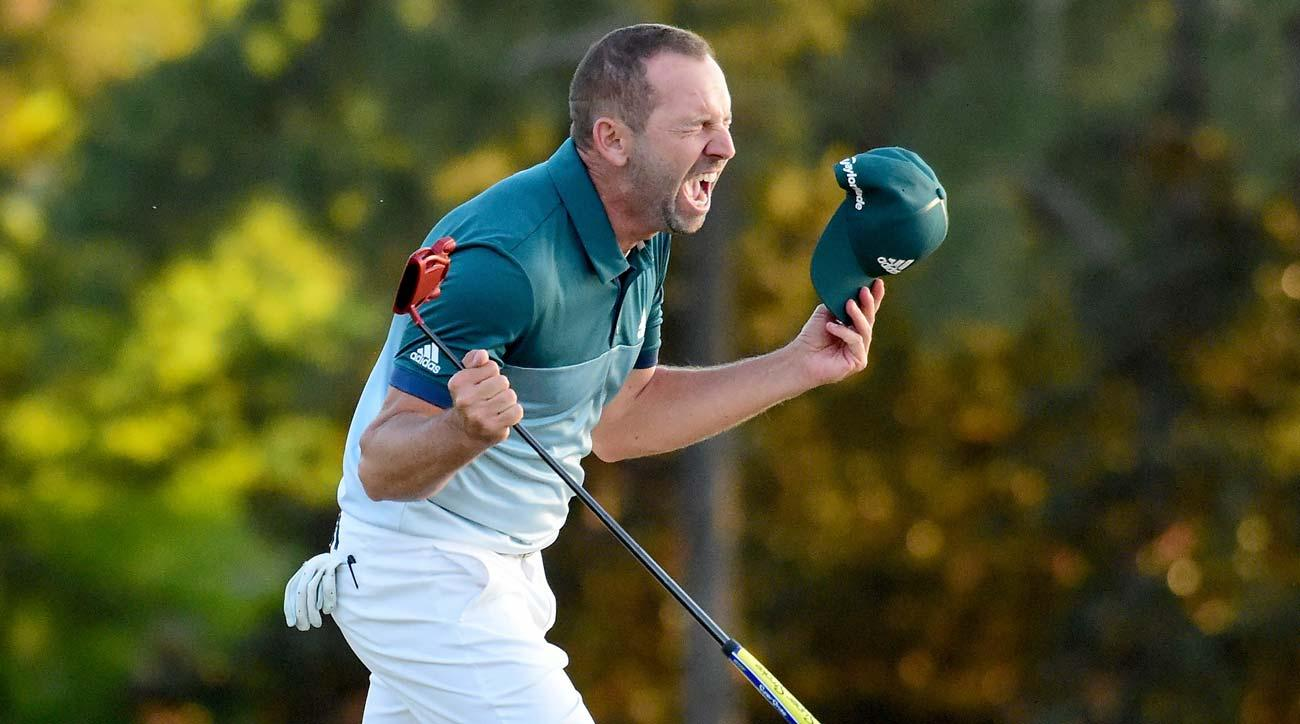 Sergio Garcia celebrates after defeating Justin Rose on the first playoff hole during the final round of the 2017 Masters.