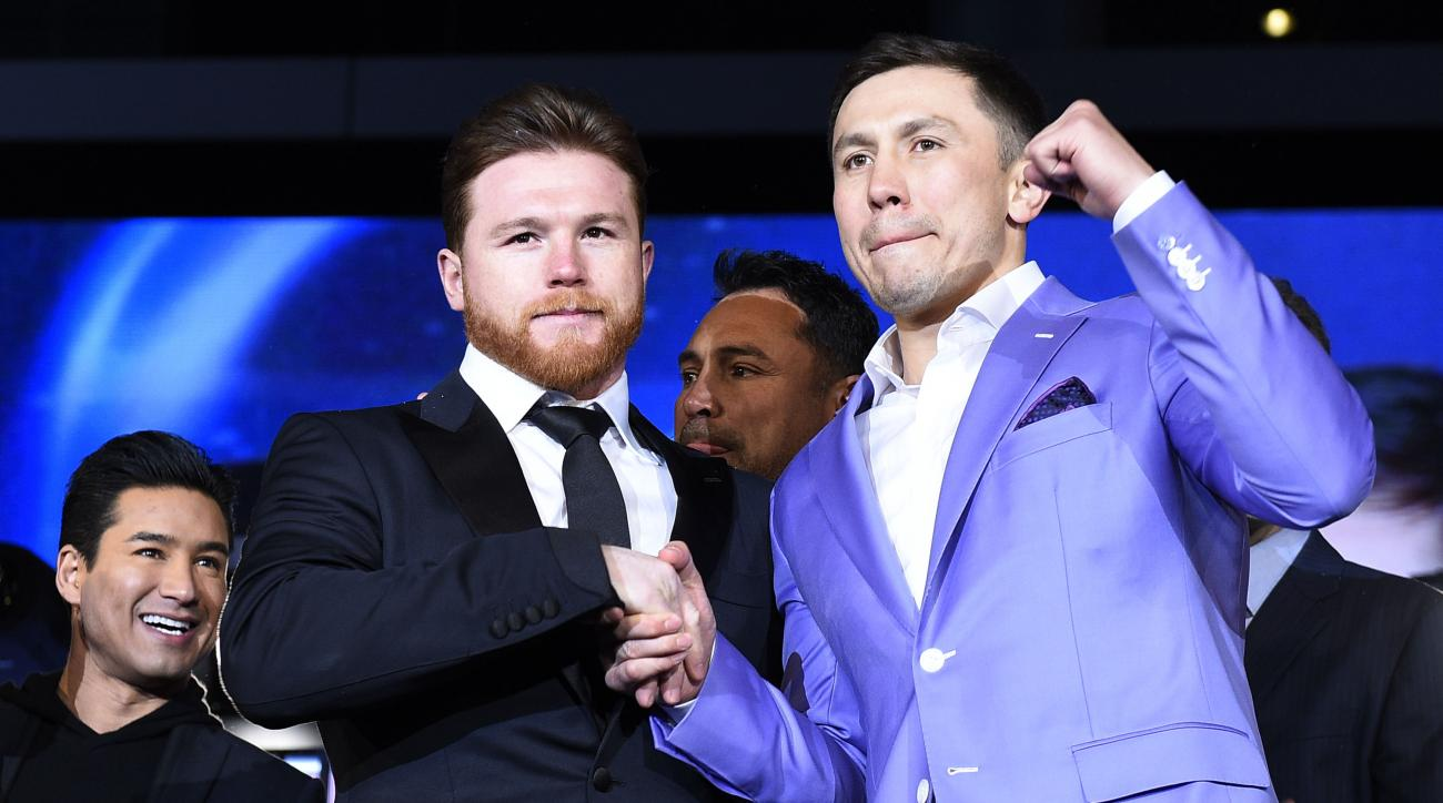 LOS ANGELES, CA - FEBRUARY 27: Boxers Canelo Alvarez (L) and Gennady Golovkin pose during a news conference at Microsoft Theater at L.A. Live to announce their upcoming rematch on February 27, 2018 in Los Angeles, California. (Photo by Kevork Djansezian/Getty Images)