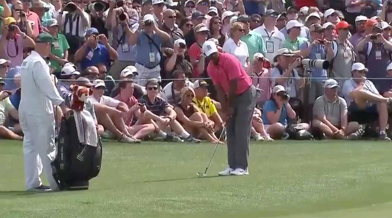 tiger woods chips in for eagle on masters monday  and the
