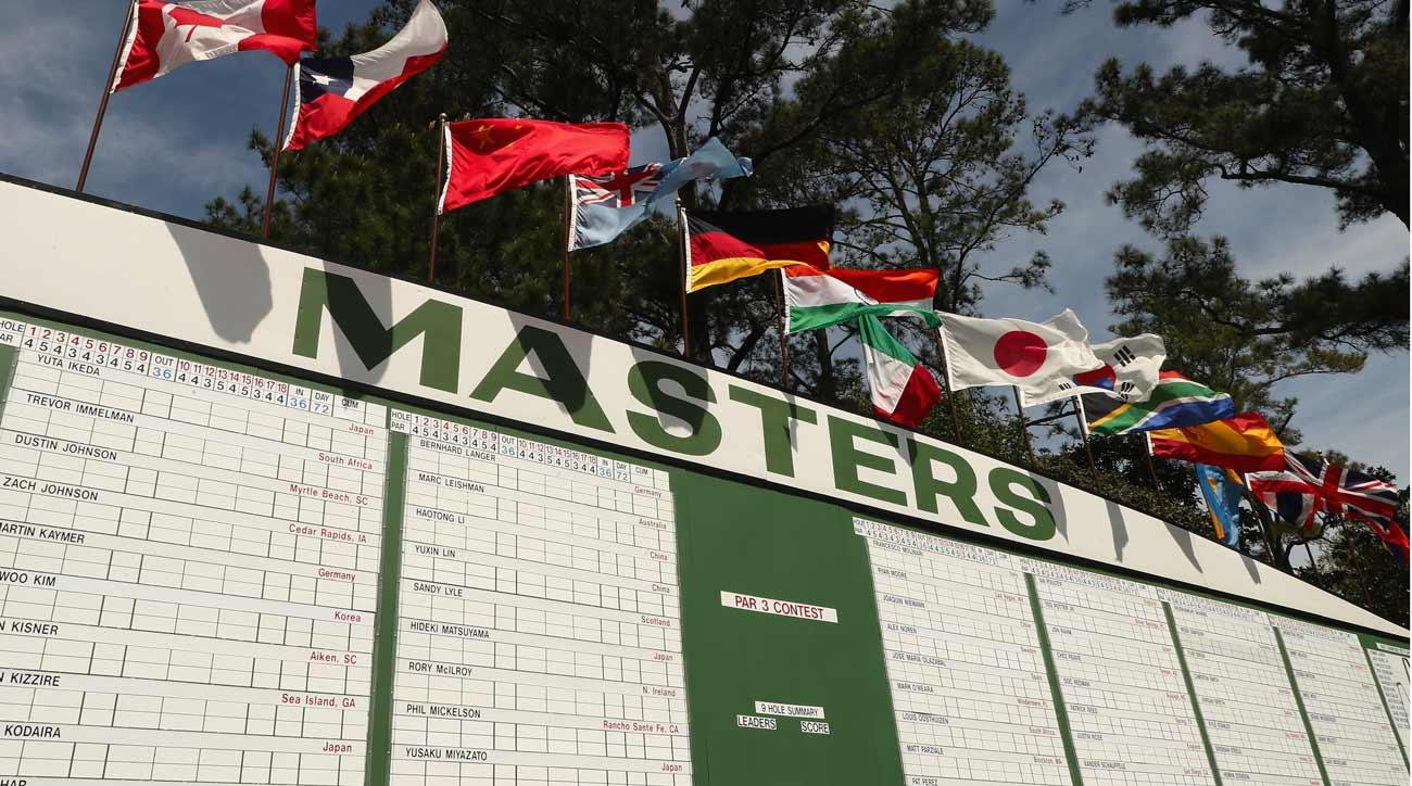 The main leaderboard is seen off the first fairway during a practice round prior to the start of the 2018 Masters Tournament at Augusta National