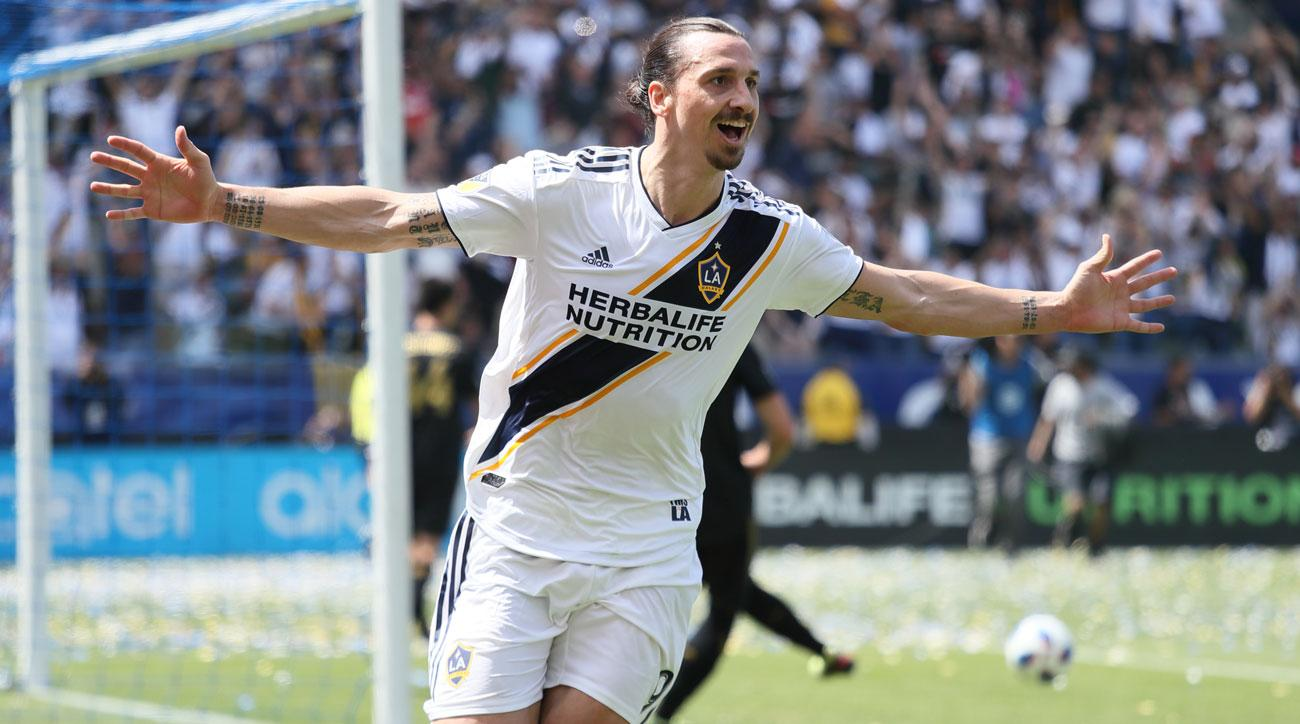 Zlatan Ibrahimovic scored two goals on his LA Galaxy debut in MLS