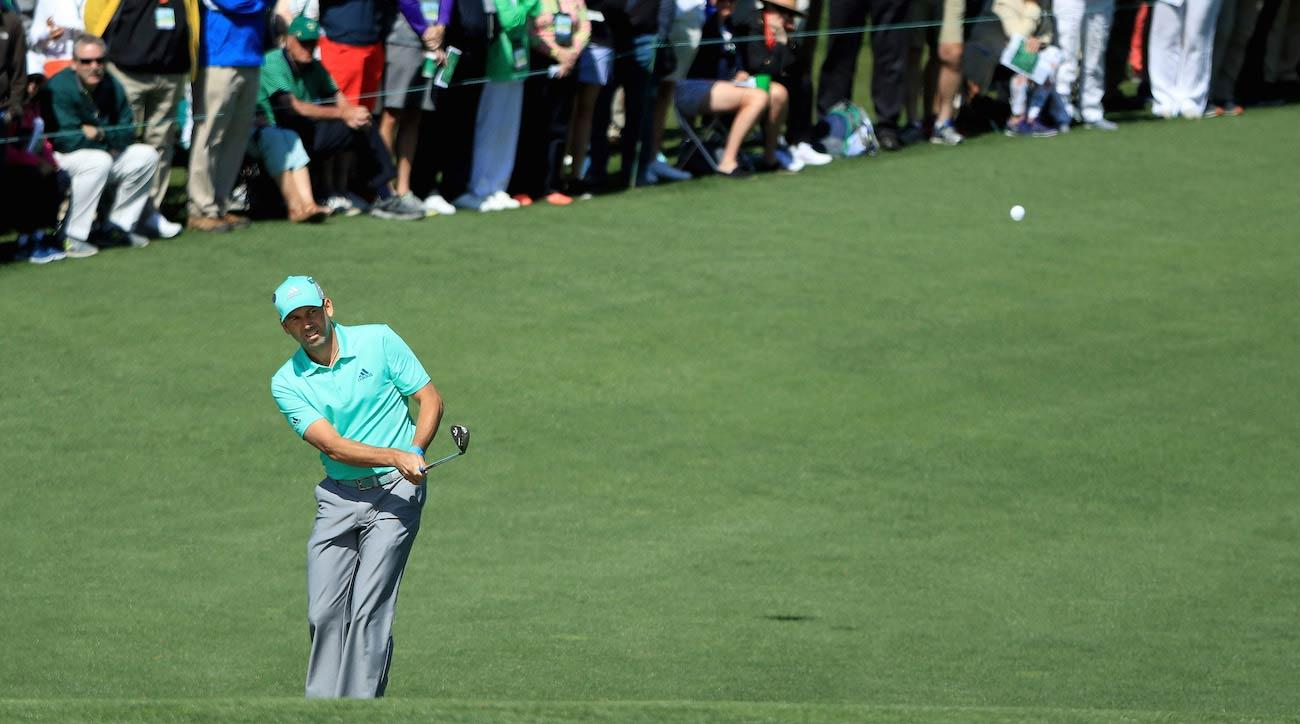 Sergio Garcia plays a shot on the second hold during the first round of the 2018 Masters.