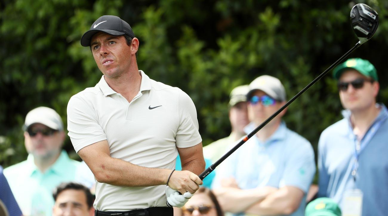 Rory McIlroy tees off during the second round of the 2018 Masters.