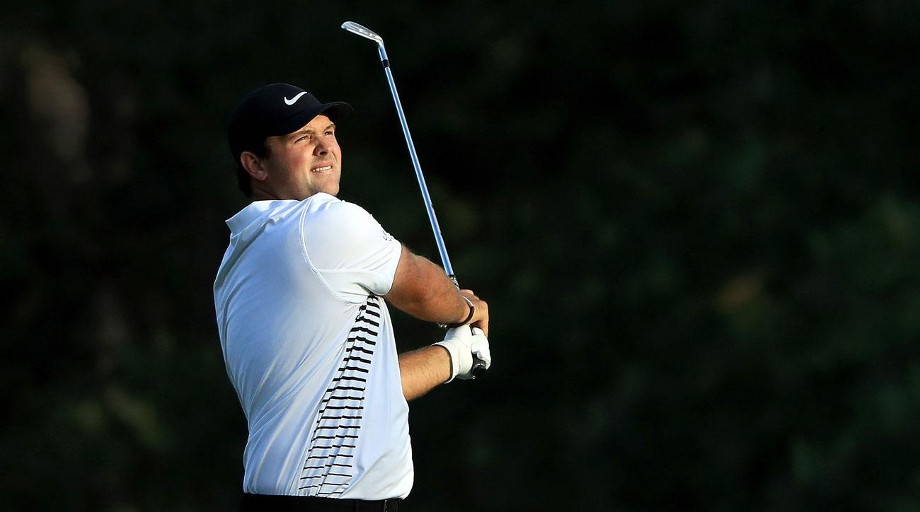 Patrick Reed watches a shot during the second round of the 2018 Masters.
