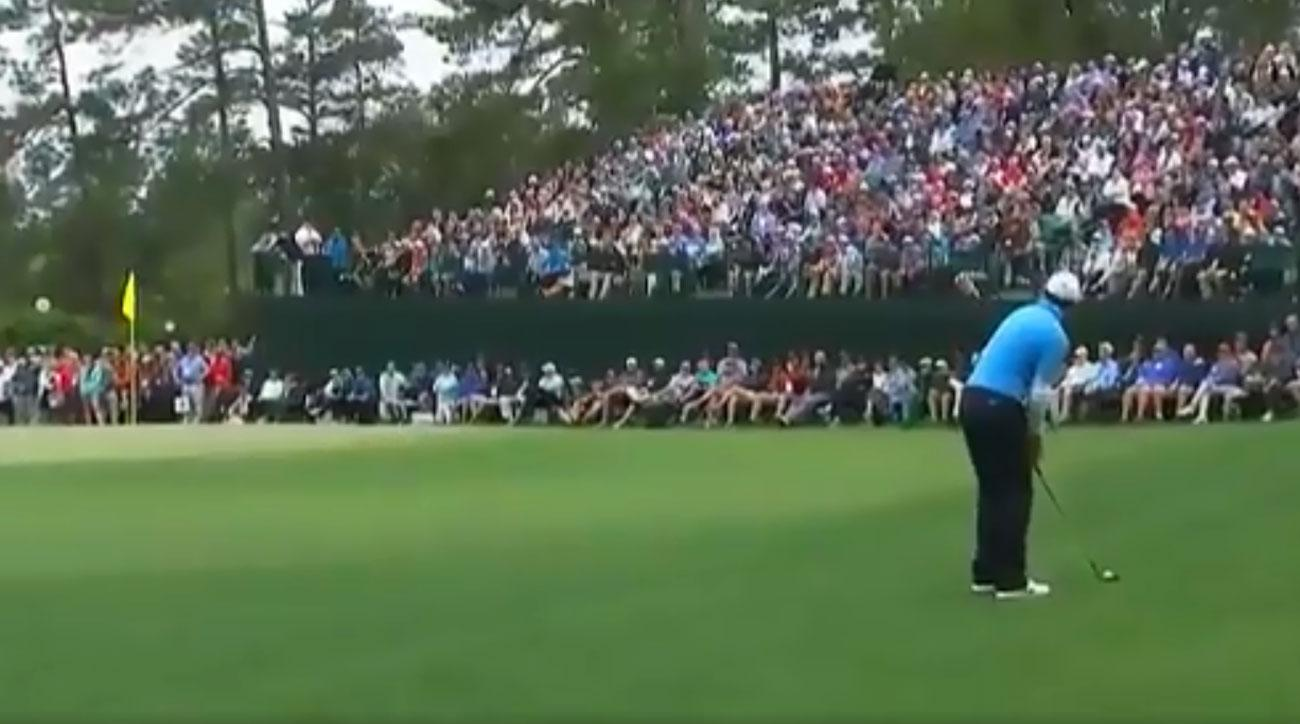 Rory McIlroy lines up his chip on the 8th hole Saturday at the Masters.