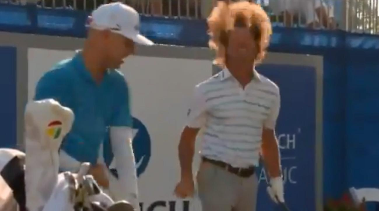 Alex Cejka and Ben Crane doing their thing on the 1st tee at the 2018 Zurich Classic