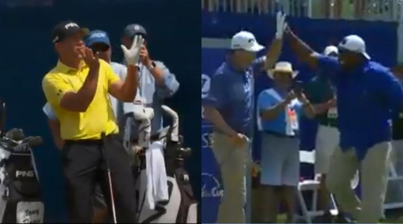 Daniel Summerhays and Rob Oppenheim 1st tee Saturday at the Zurich Classic