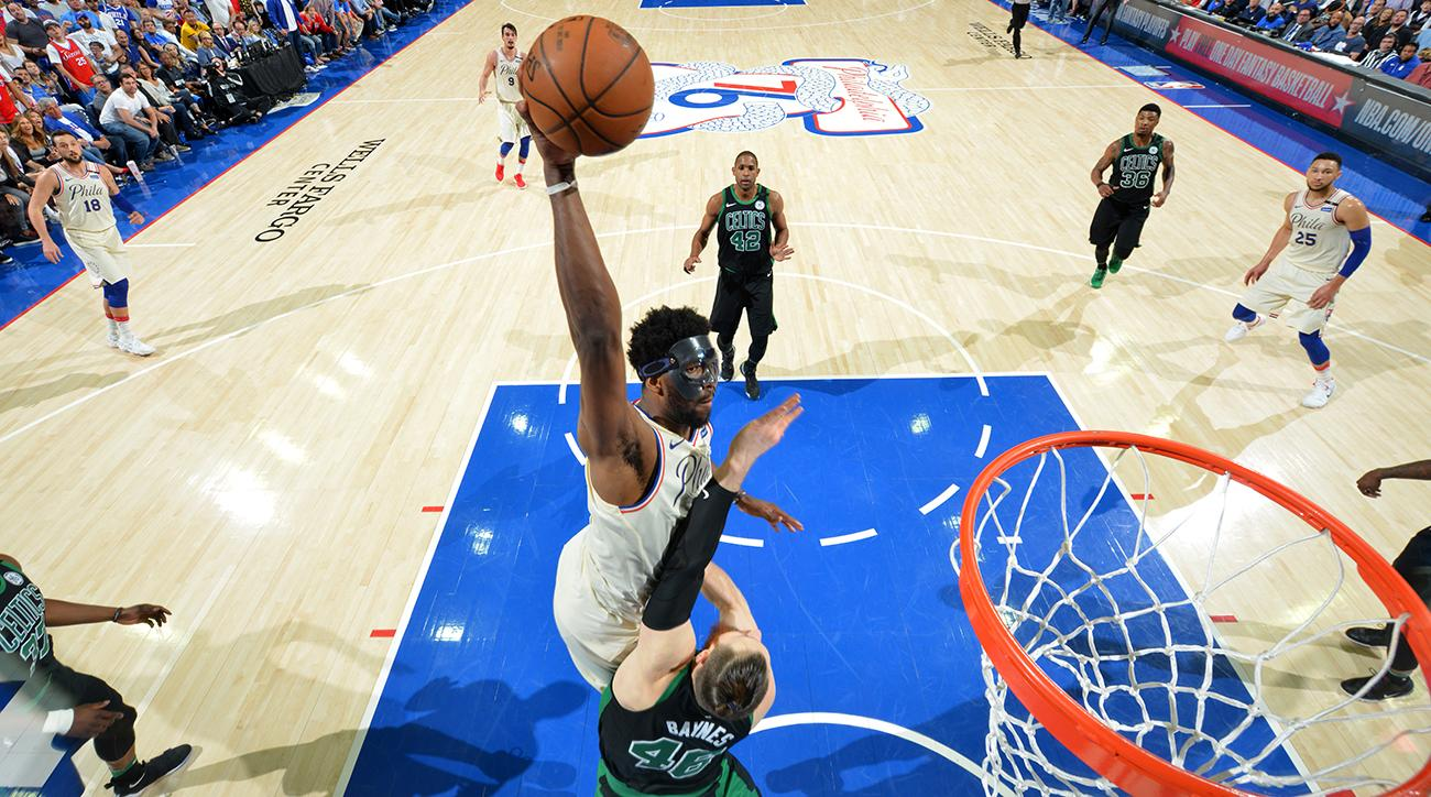 joel embiid, joel embiid dunk, aron baynes, 76ers, Celtics, boston, philly