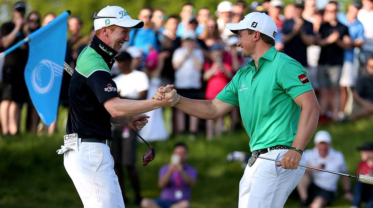 Ireland's Gavin Moynihan (left) and Paul Dunne celebrate their GolfSixes victory.