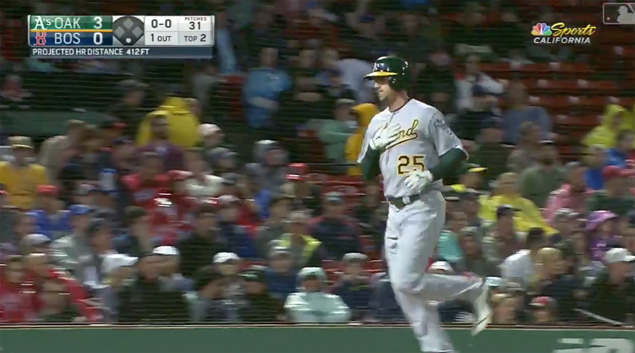 A's Stephen Piscotty homers in first at-bat following bereavement leave