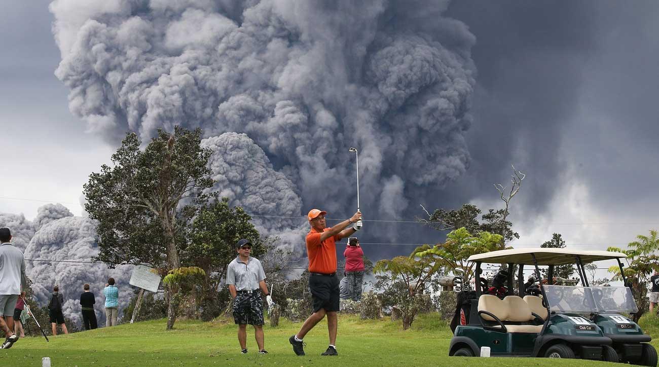 Kilauea volcano eruption golf
