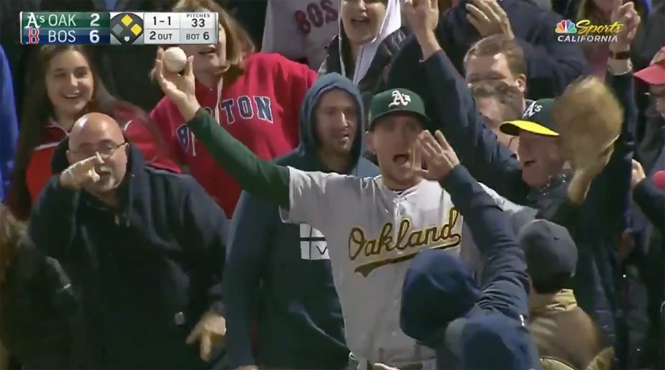 stephen Piscotty, team gretchen, oakland as, athletics, oakland, boston, piscotty homer, piscotty catch, stephen piscotty grab, fenway