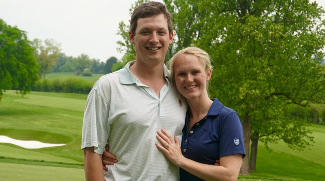 Jeff Scholtz had planned to propose to Hayley Milbourn on the 17th hole at Baltimore Country Club's East course...until she made a hole-in-one on No. 13, and he had to quickly improvise.