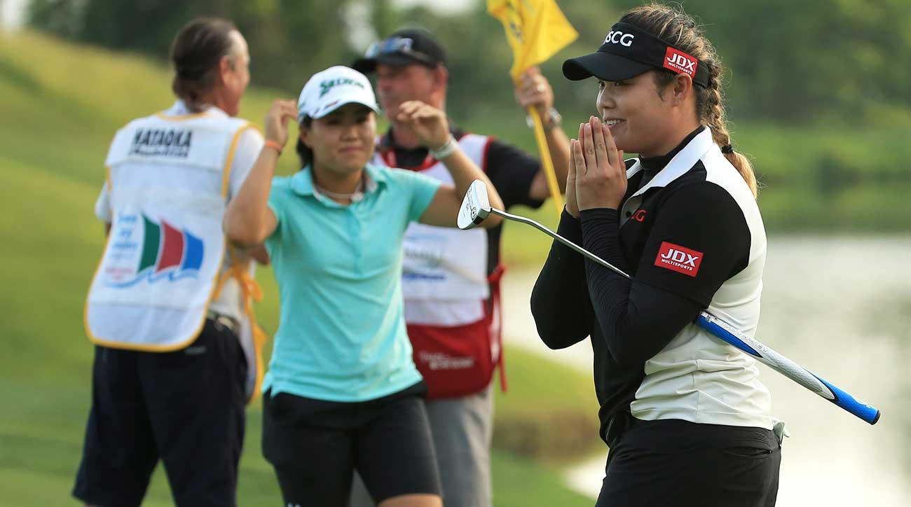 Ariya Jutanugarn reacts after making her birdie putt on the second playoff hole to win the Kingsmill Championship on Sunday.