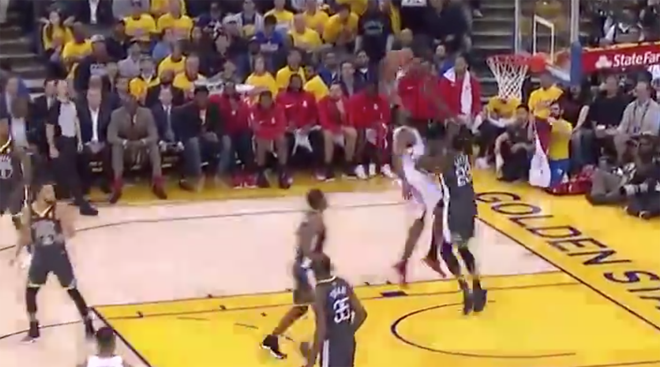 james harden dunk video, james harden, rockets, warriors, golden state warriors, houston rockets, game 4, NBA playoffs