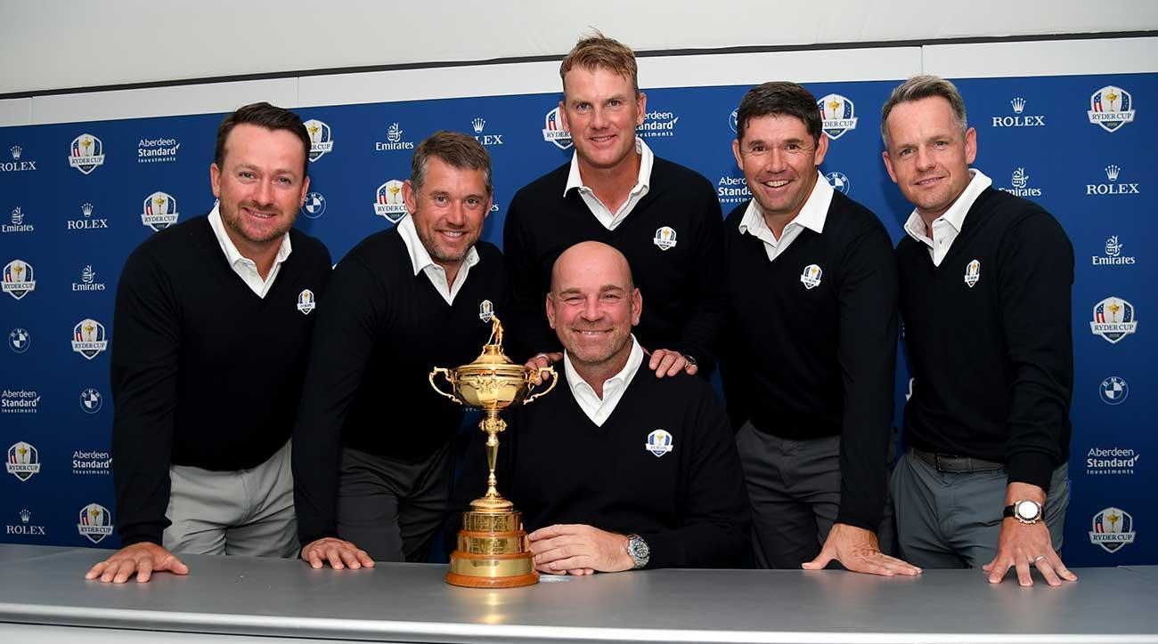 Graeme McDowell (from left), Lee Westwood, Robert Karlsson, Padraig Harrington and Luke Donald were announced by Thomas Bjorn as European Ryder Cup vice captains for this year's event.