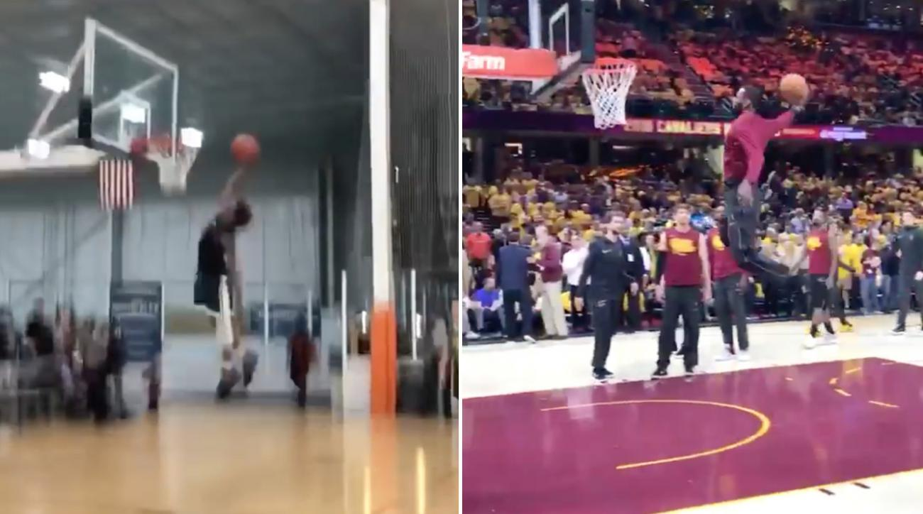 LeBron James copies son's dunk in warmups (video)